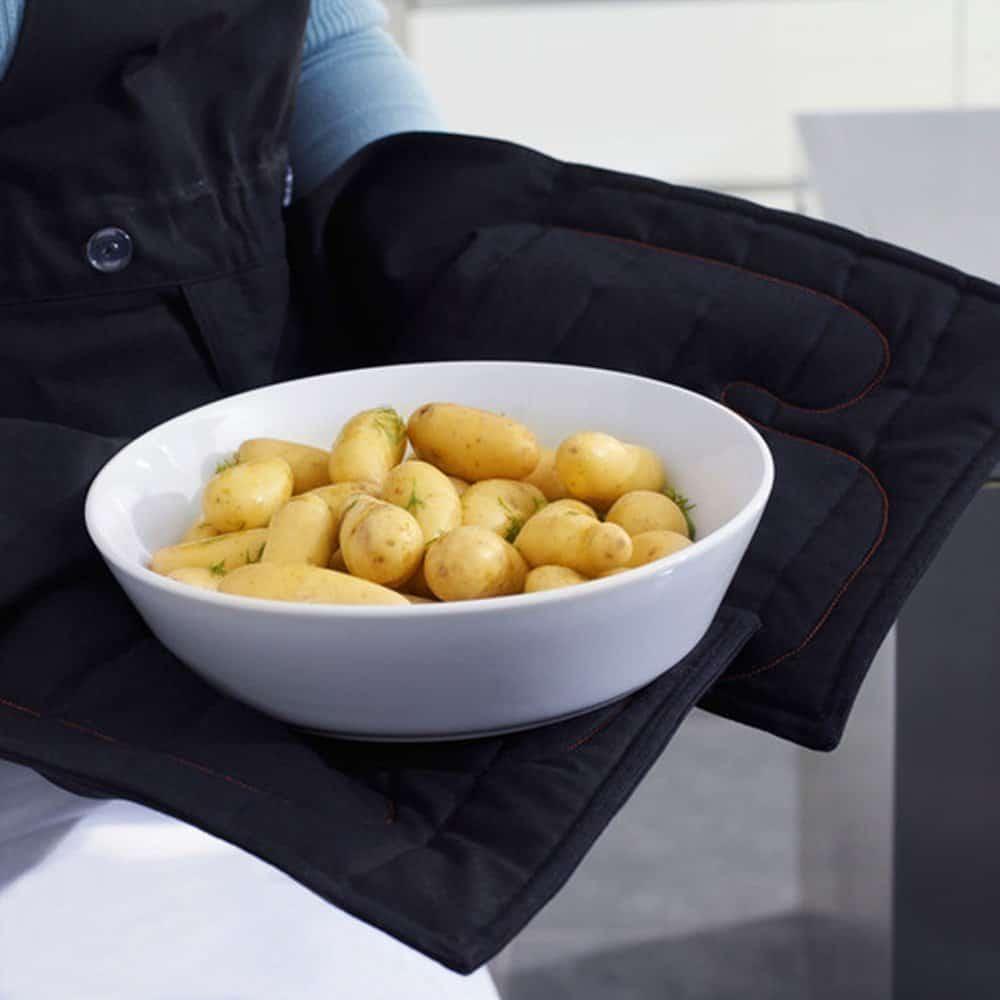 Le tablier professionnel royal vkb inclut des gants anti for Tablier professionnel cuisine