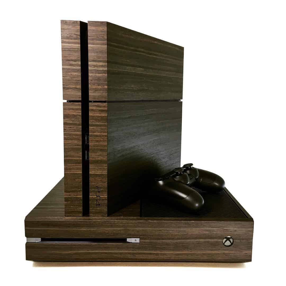 une coque ps4 et xbox one custom en vrai bois. Black Bedroom Furniture Sets. Home Design Ideas