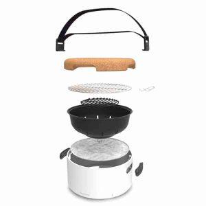 éléments du mini barbecue de table au charbon BergHOFF