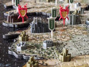 le détail des villes, des châteaux et des drapeaux de westeros